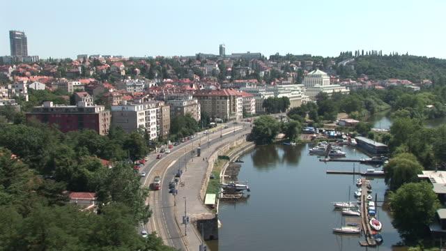 praguetop view of vltava river in prague czech republic - czech republic stock videos and b-roll footage