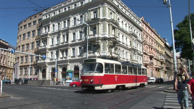 praguetrams in city street in prague czech republic - traditionally czech stock videos & royalty-free footage