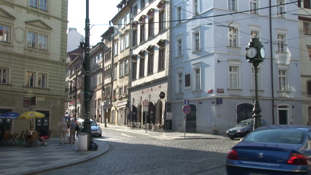pragueview of a city street in prague czech republic - eastern european culture stock videos & royalty-free footage