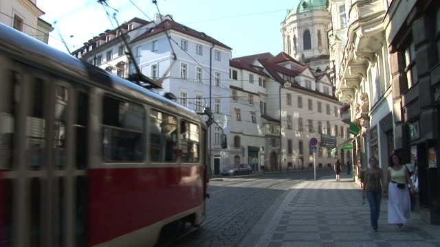 pragueview of a street clock in city street of prague czech republic - mala strana stock videos and b-roll footage