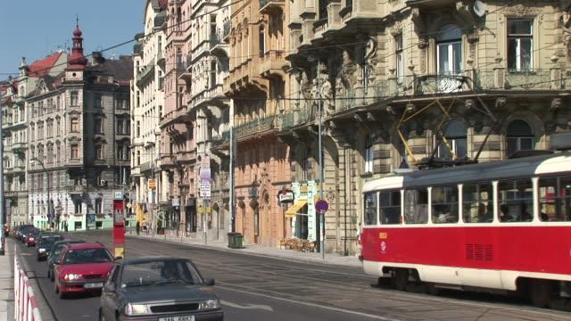 pragueview of city street in prague czech republic - チェコ文化点の映像素材/bロール