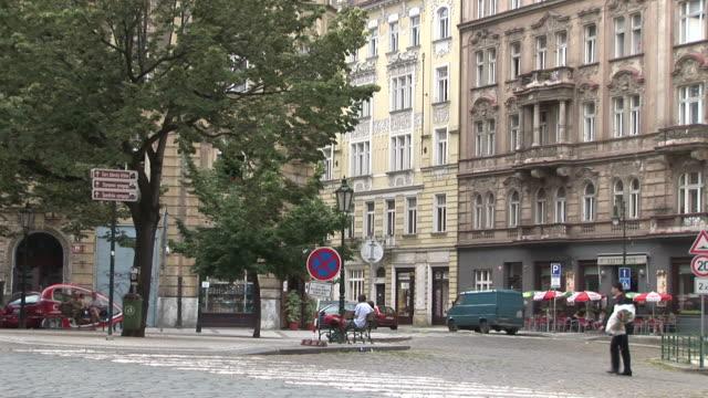 pragueview of city street in prague czech republic - czech culture stock videos & royalty-free footage