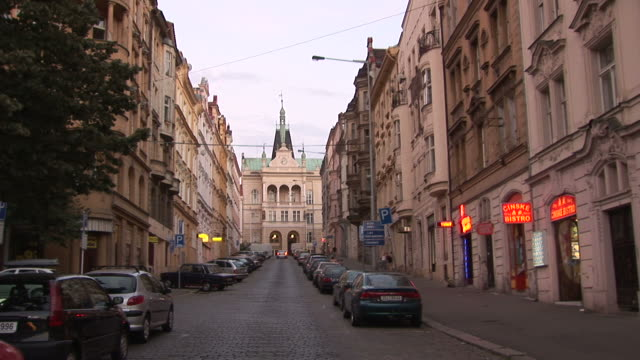 pragueview of city street in prague czech republic - czech culture stock videos & royalty-free footage