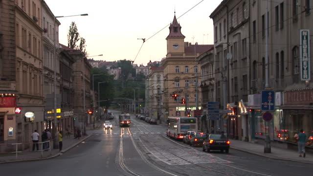 pragueview of city street in prague czech republic - traditionally czech stock videos & royalty-free footage