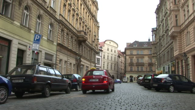 PragueView of cobblestone road in Prague Czech Republic