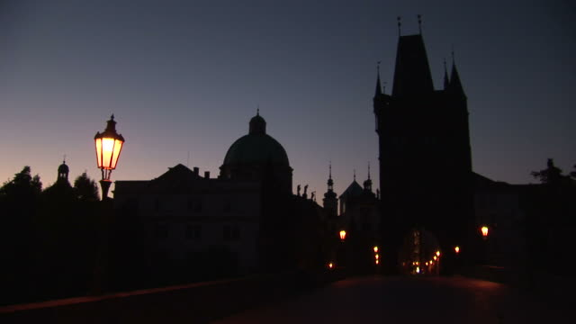 pragueview of old town bridge at night in prague czech republic - st frantisek church stock videos and b-roll footage
