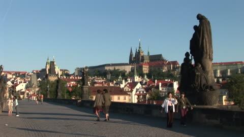 pragueview of old town bridge in prague czech republic - stare mesto stock videos & royalty-free footage
