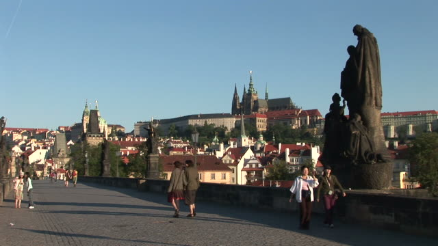 pragueview of old town bridge in prague czech republic - stare mesto stock videos & royalty-free footage