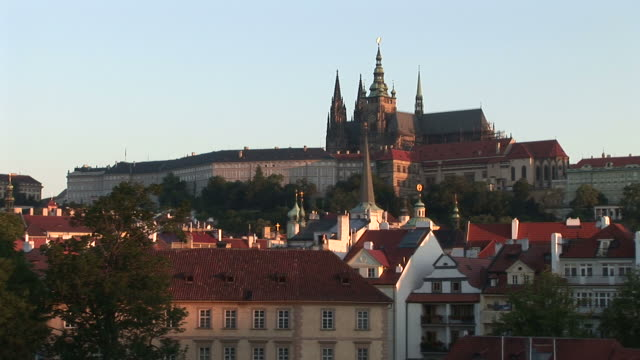 pragueview of prague castle in prague czech republic - hradcany castle stock videos and b-roll footage