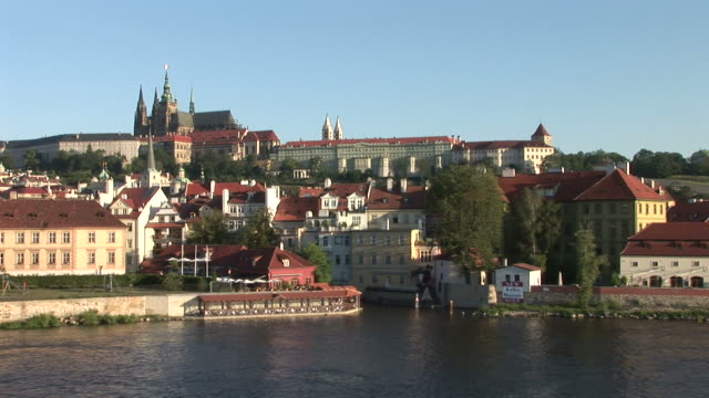 pragueview of prague castle in prague czech republic - hradcany castle stock videos & royalty-free footage