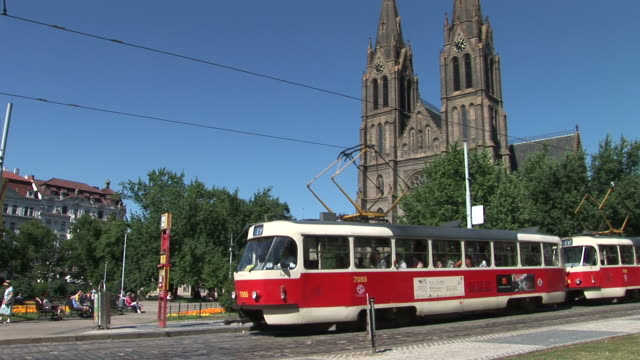 pragueview of st. ludmila church and tram in prague czech republic - traditionally czech stock videos & royalty-free footage