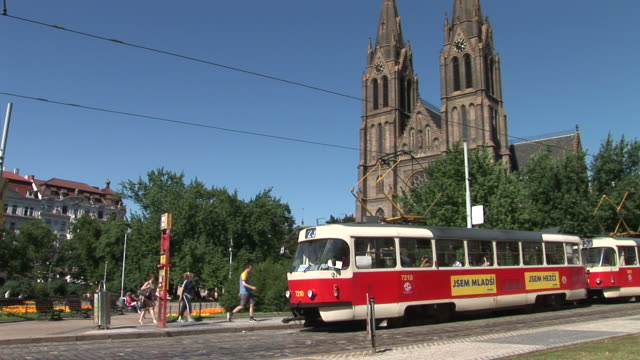 pragueview of st. ludmila church and tram in prague czech republic - 宗教施設点の映像素材/bロール