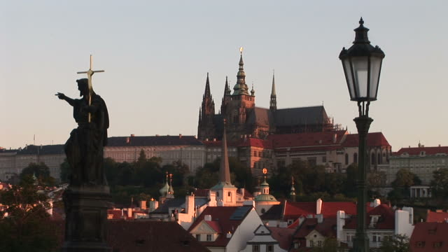PragueView of statue on Old Town Bridge in Prague Czech Republic