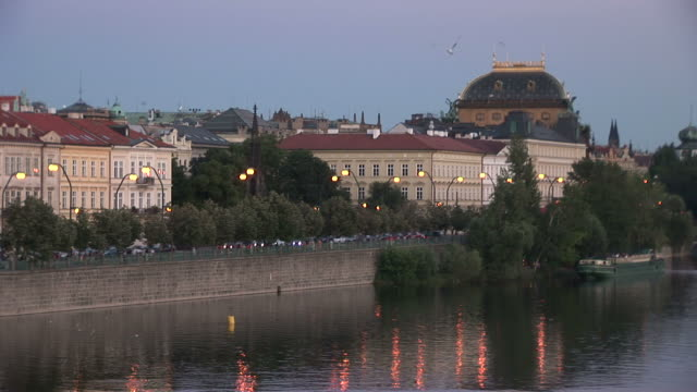 pragueview of vltava river at magic hour in prague czech republic - river vltava stock videos & royalty-free footage