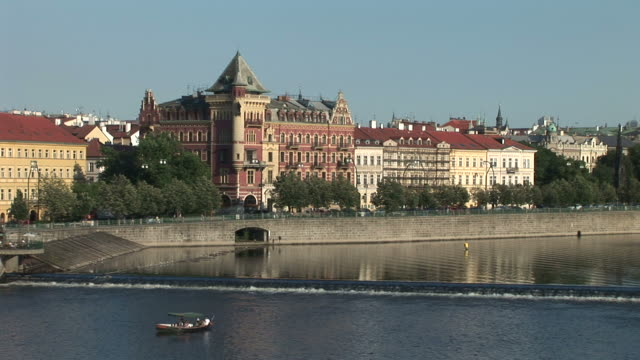 praguevltava river and old town square in prague czech republic - prague old town square stock videos and b-roll footage