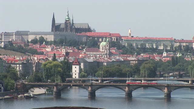 PragueVltava River and Prague Castle in Prague Czech Republic