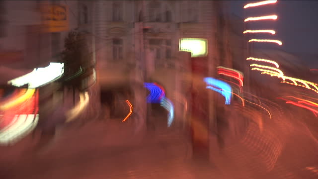 praguewildly shaking view of city street at night in prague czech republic - czech culture stock videos & royalty-free footage