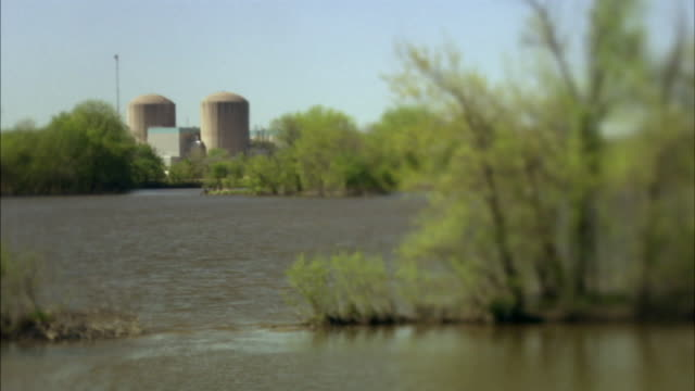 ws prairie island nuclear power plant from across the mississippi river/ red wing, minnesota - nuclear energy stock videos & royalty-free footage