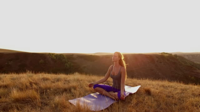 Prairie yoga at sunrise
