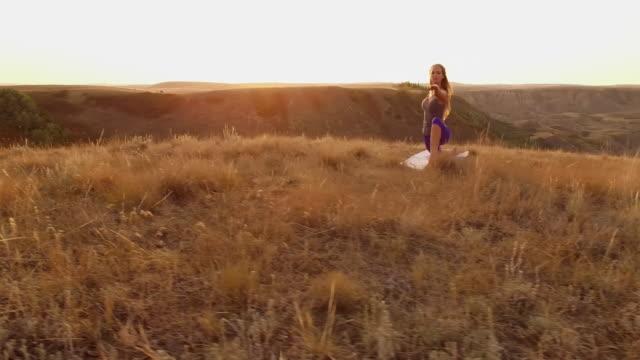 Prairie yoga at sunrise