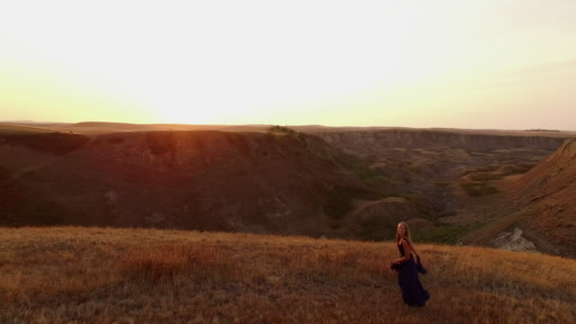 prairie yoga at sunrise - evening gown stock videos & royalty-free footage