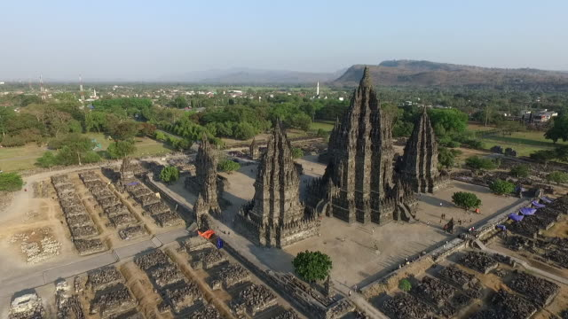 prambanan temple aerial - temple building stock videos & royalty-free footage