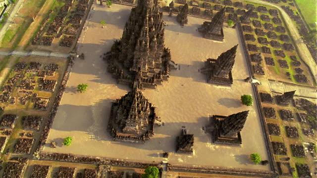 AERIAL OVERHEAD Prambanan Temple complex / Klaten, Java, Indonesia