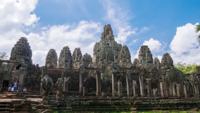 prasat bayon at angkor thom, siem reap province, cambodia - cambodian culture stock videos and b-roll footage