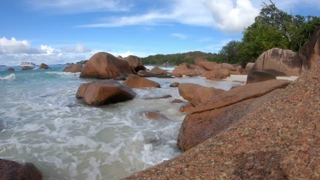 praslin island beach granite rocks - granite stock videos & royalty-free footage