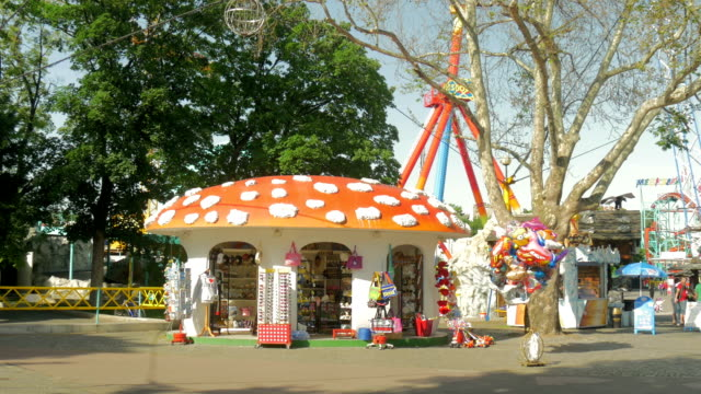 prater fairground mushroom shaped kiosk - prater park stock videos & royalty-free footage