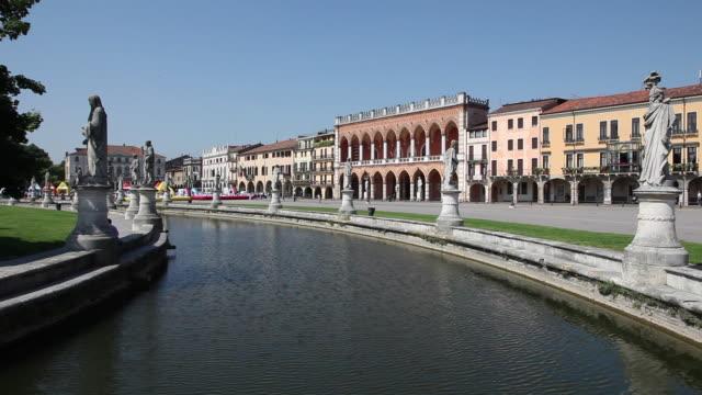 prato della valle square, channel, statues , padua, italy - prato stock videos and b-roll footage