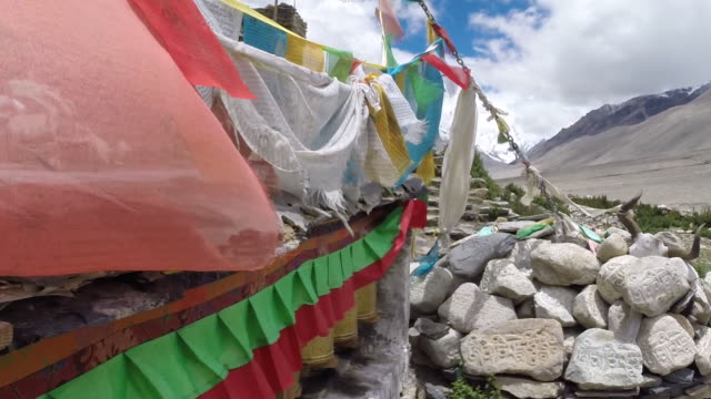 prayer flags at tibet everest base camp - base camp stock videos & royalty-free footage