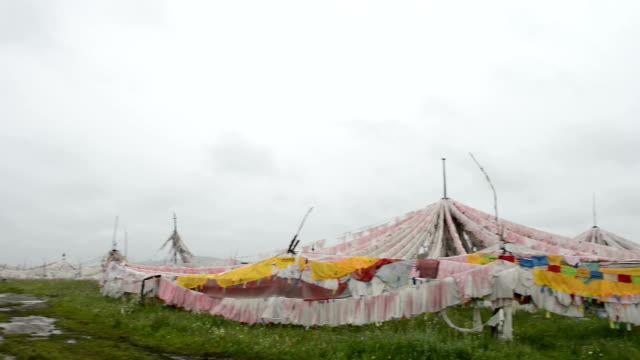 prayer flags at tibetan buddhism shrine