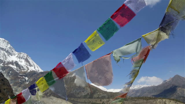 prayer flags on a mountain summit, nepal - tibet stock videos & royalty-free footage