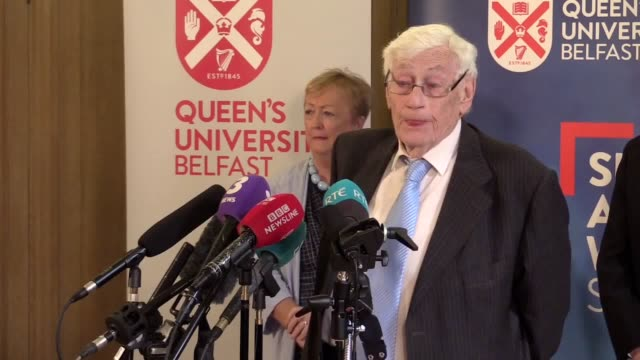 pre event press conferences with seamus mallon peter robinson bertie ahern and jonathan powell - bertie ahern stock videos and b-roll footage