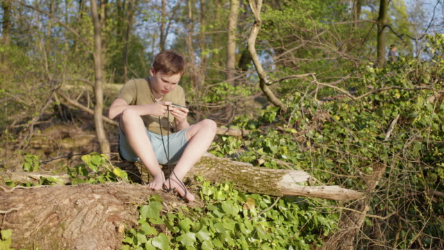 preadolescent 12 years old cute boy gaming outside in nature with smart phone. - 12 13 years stock videos & royalty-free footage