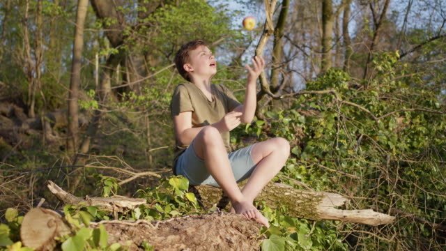 stockvideo's en b-roll-footage met preadolescent 12 years old cute maverick boy outside in green nature playing with and eating apple. - 12 13 jaar