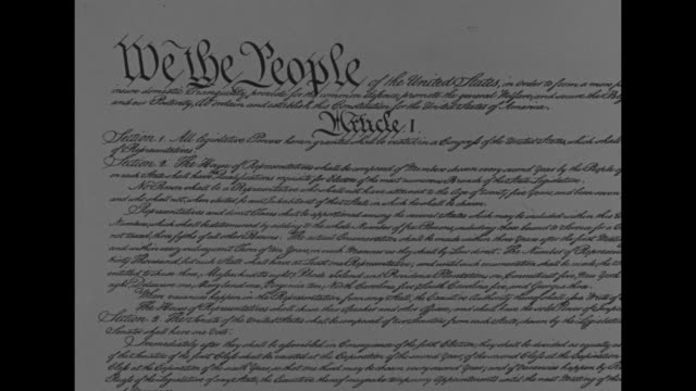 VS CU preamble and Article I of the US Constitution in 18th century calligraphic script / textbook version of Preamble and Amendments I and VI with...