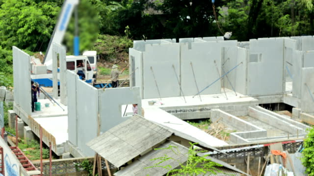 Precast concrete wall in construction site