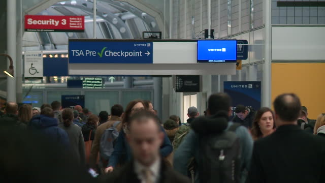 precheck line security checkpoint at o'hare airport on january 18 2019 - o'hare airport stock videos & royalty-free footage