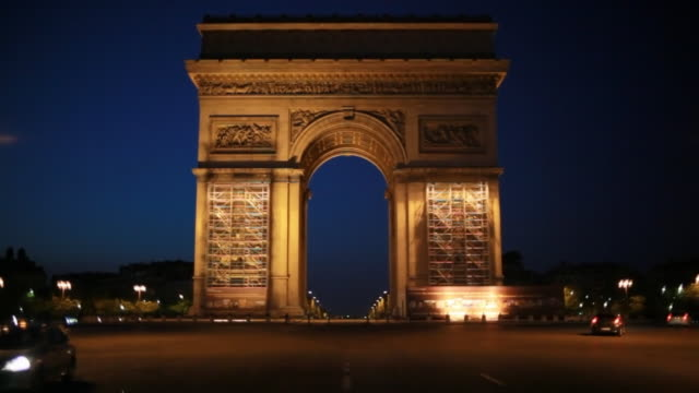 pre-dawn arc de triomphe in paris, france - arc de triomphe stock videos and b-roll footage