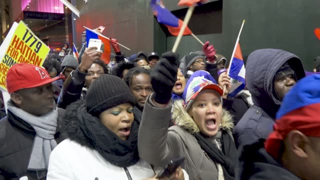 Predominantly Haitian and African demonstrators protesting President Donald Trump's reported referencing of Haiti and African nations as 'shithole'...