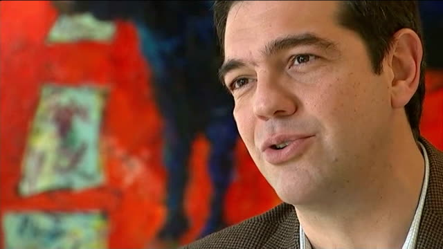 pre-election lead for greek left-wing syriza party; int q: re greek exit alexis tsipras interview sot - this discussion died in 2012 / it's like... - grecia stato video stock e b–roll