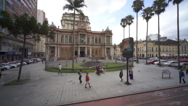 vídeos de stock e filmes b-roll de prefeitura municipal de porto alegre, southern brazil - town hall