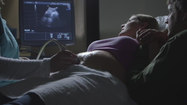 Pregnant Caucasian couple watching ultrasound