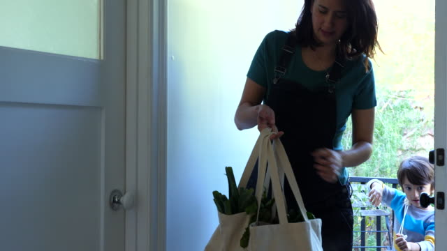 ms pregnant mother bringing groceries in canvas bags into kitchen with young son - shopping bag stock videos & royalty-free footage