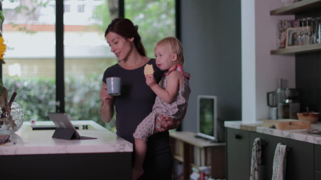 vídeos de stock e filmes b-roll de pregnant mother with child working from home - lanche