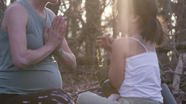 pregnant woman and her 6 year old daughter doing yoga in nature - elementary age stock videos & royalty-free footage