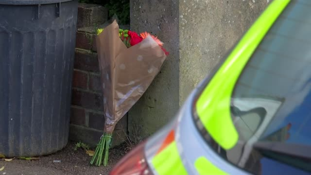 vídeos de stock, filmes e b-roll de pregnant woman dies after being attacked with crossbow; england: london: ilford: ext floral bouquet rested on garden wall various police officers on... - ilford
