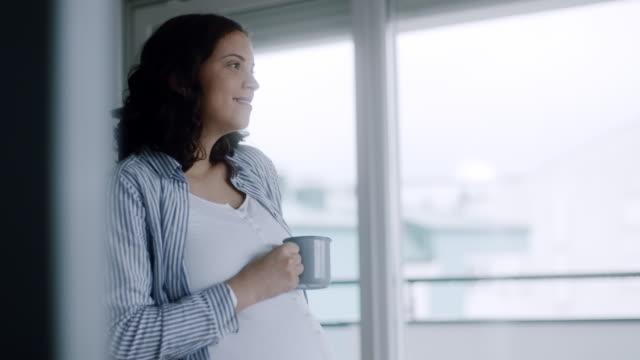 vidéos et rushes de femme enceinte, boire du thé de fenêtre à la maison - assis